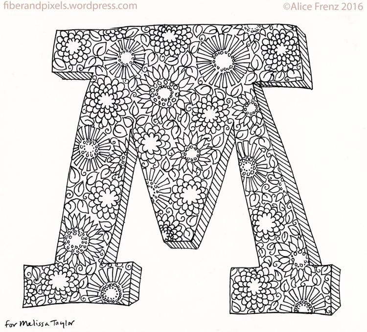 block letter m hand lettering flowers sketchbook alice frenz 05 15