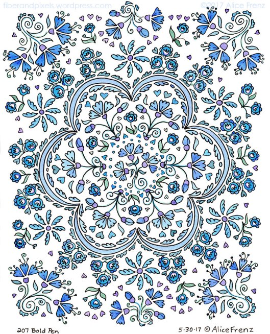 alice-frenz-emma-ink-watercolor-mandala-floral-blue-sketchbook-page 727x900-60b