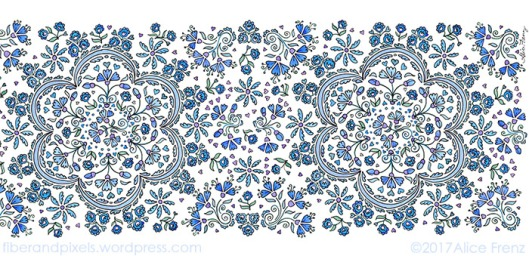 Emma scarf design by Alice Frenz from watercolor ink sketchbook page horizontal 700x339-70c